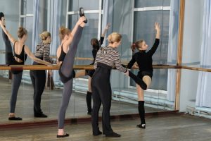 Ballet class in studio with choreographer